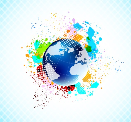 paint splat: Abstract grunge colorful background with blue globe