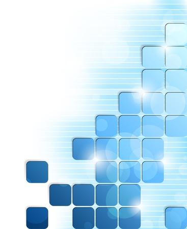 디지털: 파란색 사각형과 줄무늬와 추상 밝은 배경 일러스트