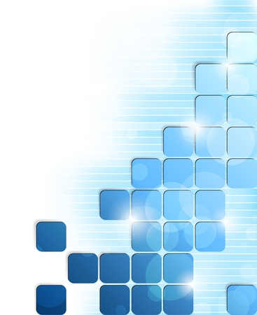 Abstract bright background with blue squares and stripes Vector