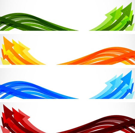 Set of bright banners with colorful arrows Vector