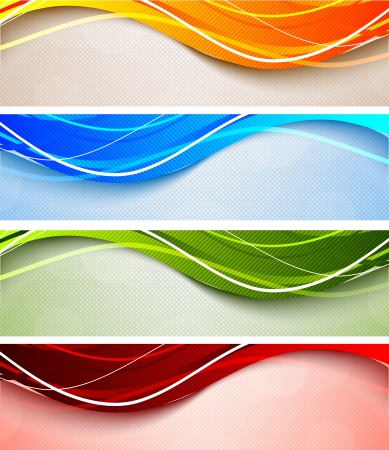 Set of abstract wavy banners in bright colors Vector
