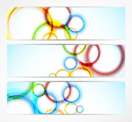 Set of bright banners with colorful circles Stock Vector - 14937471