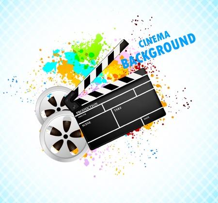 rainbow slide: Background with cinema element Illustration