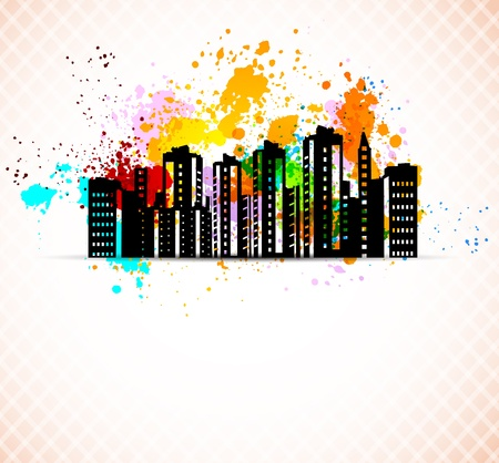 Abstract grunge background with buildings  Colorful illustration Vector