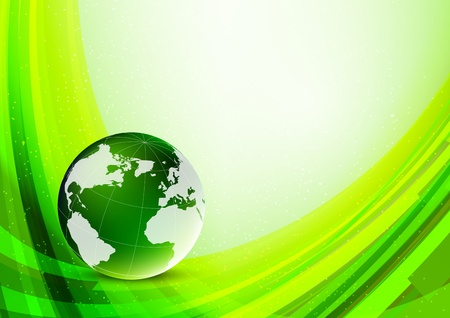Bright green background with globe. Abstract illustration Vector