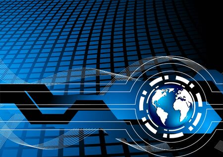 Vector tech background with globe; clip-art Stock Vector - 14937552