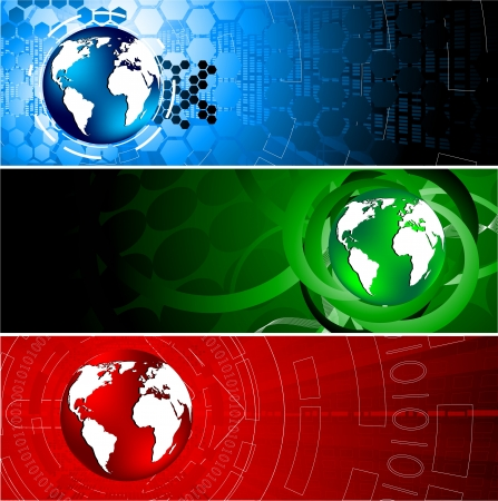 world  hexagon: Vector tech colorful banners; clip-art
