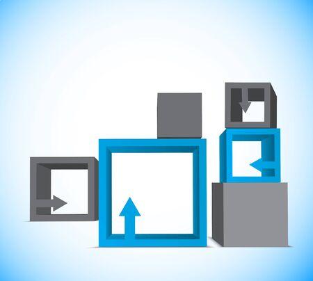 blue 3d blocks: Background with cubes Illustration