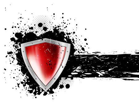 grunge: Grunge background with shield