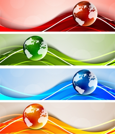 Set of banners with globes Stock Photo - 15224905