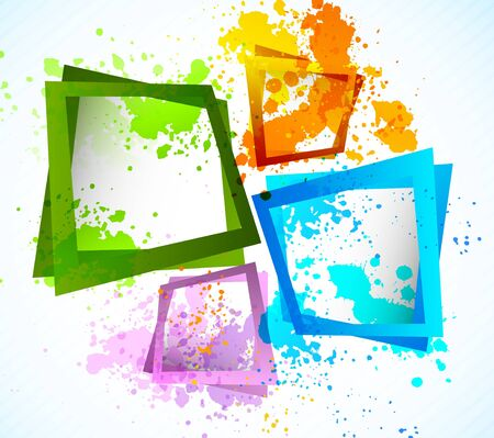 splash paint: Background with squares. Abstract colorful grunge illustration Illustration