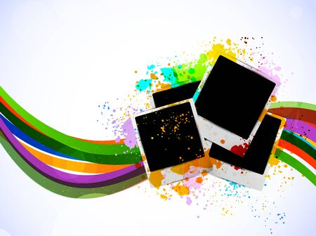 digital frame: Bright background with photo frames. Abstract illustration