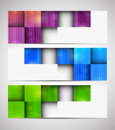 Set of banners with squares. Abstract illustration Vector