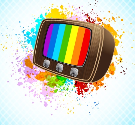 Bright colorful background with retro tv. Abstract illustration Vector