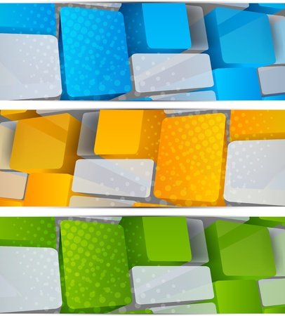 computer banner: Set of banners with squares. Abstract illustration