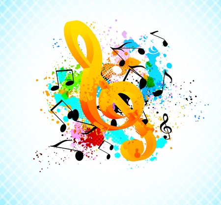 transcribe: Music background with g-clef. Abstract colorful illustration