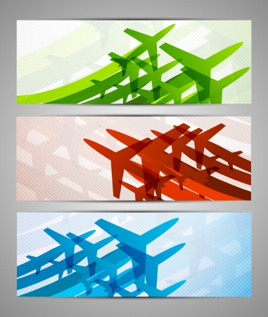 avia: Set of banners with airplanes. Colorful collection Illustration