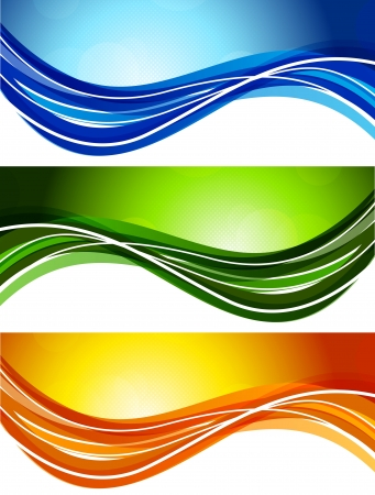 Set of bright wavy banners. Abstract illustration