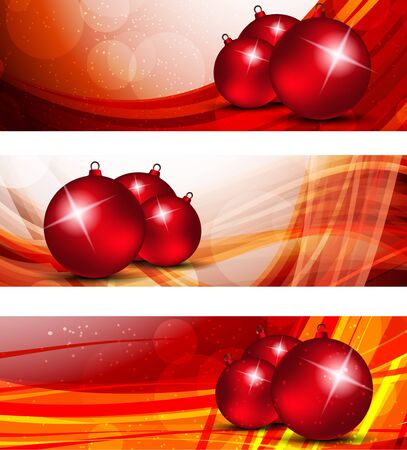 christmas ball: Set of xmas banners in red color with balls Illustration
