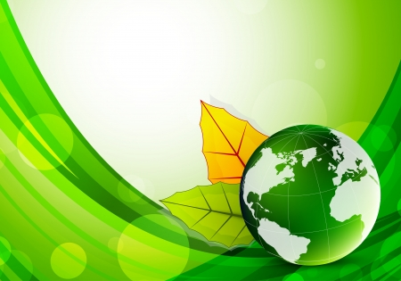 Background with globe and leaves. Abstract illustration Vector