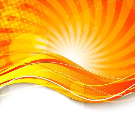 Bright fond d'orange ondulé. Résumé illustration colorée Vecteurs