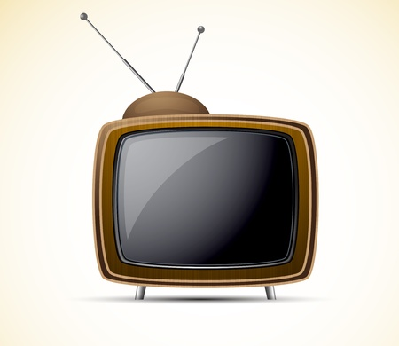 television screen: Carton retro tv in brown color. Shiny illustration