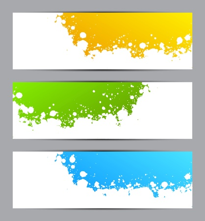 paint splatter: Set of colorful grunge banners Illustration