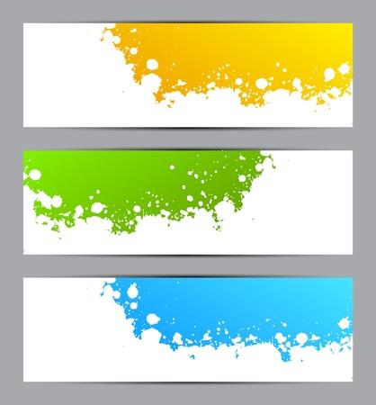 splatter paint: Set of colorful grunge banners Illustration