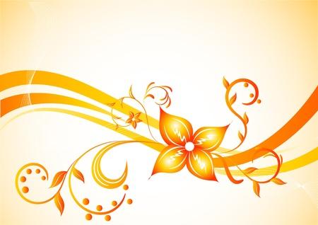 orange swirl: Vector background with flower; clip-art