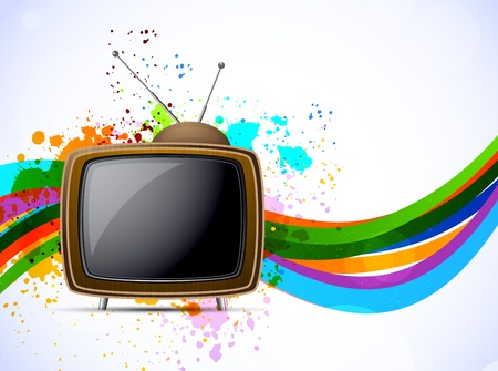 home video: Background with tv and lines. Abstract colorful illustration