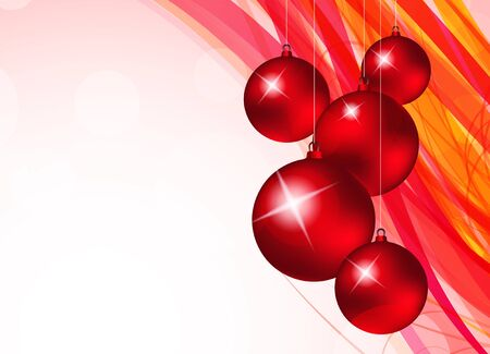 Xmas background with red balls and pink lines Stock Vector - 15472769