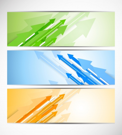 page up: Set of banners with arrows. Abstract illustration