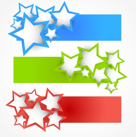 estrella azul: Conjunto de banderas con las estrellas. Ilustraci�n abstracta Vectores
