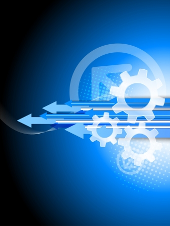 gear motion: Background with arrows and gears. Abstract tech illustration