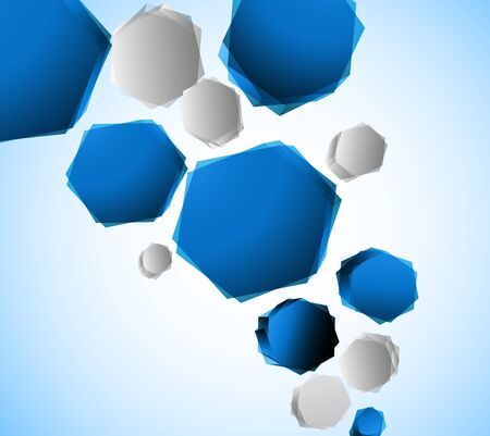Bright background with blue hexagons. Abstract illustration Vector