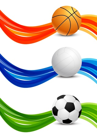 sports event: Set of banners with balls