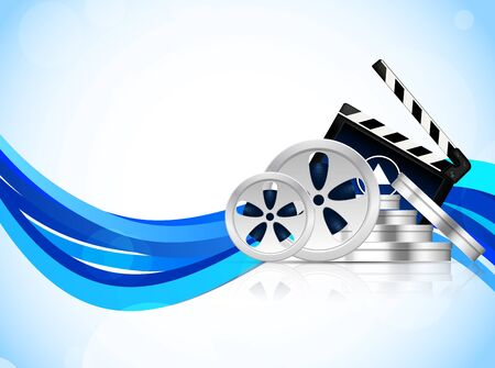 clap: Cinema equipment on blue wavy background  Abstract illustration Illustration