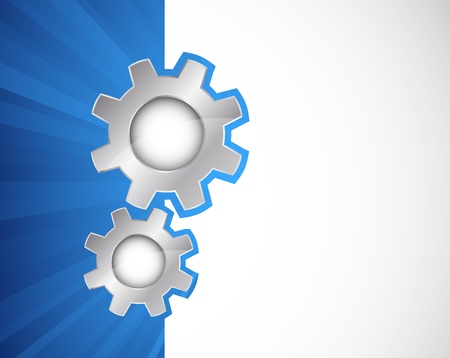cog wheel: Two silver gears on blue background  Abstract illustration Illustration