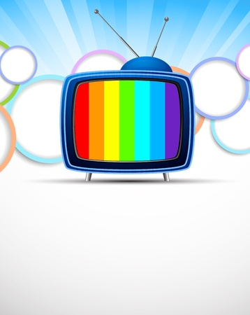 old fashioned tv: Bright background with tv  Abstract colorful illustration