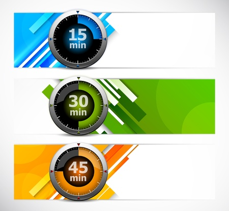 Set of banners with timers  Abstract illustration Vector