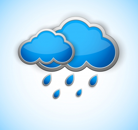 Two blue cloud with rain drops  Weather icon Vector