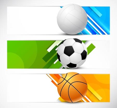 bannière football: Ensemble de bannières avec des ballons de sport illustration lumineux
