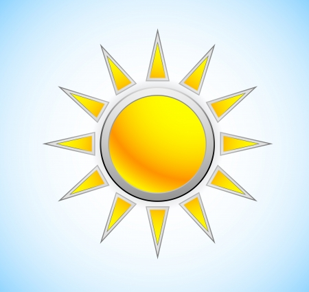 Sun icon in metal style  Weather symbol Vector