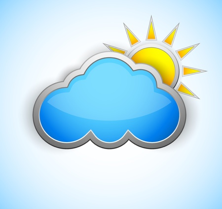 Sun and cloud weather icon  Shiny design Vector