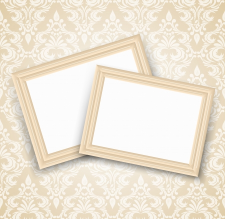 Seamless damask pattern with two frames. Luxury illustration Vector