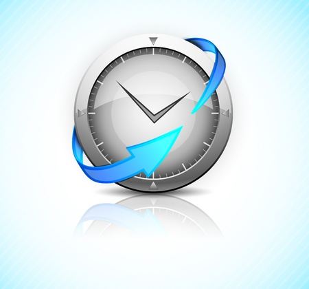 ticking: Metal clock with blue arrow  Detailed icon Illustration