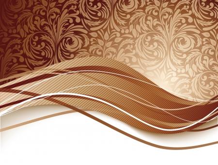 Fondo floral en ilustración marrón chocolate de color