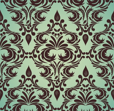 Seamless damask pattern in brown and green colors Vector