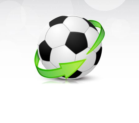 Soccer balls with green arrows  Detailed icon Vector