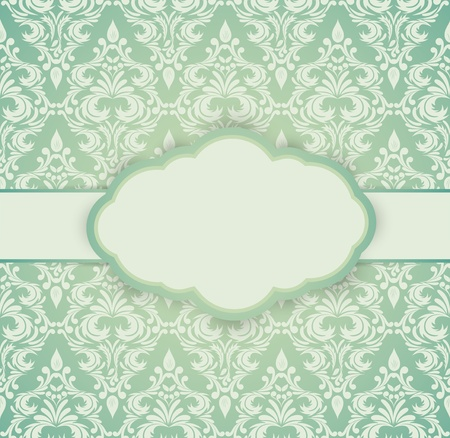 Vintage card with damask pattern  Luxury illustration Vector